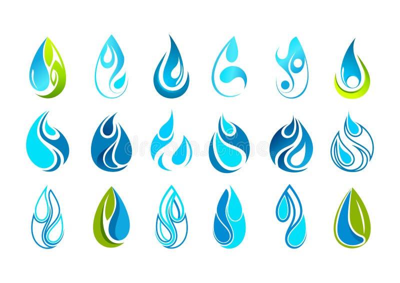 Het embleemontwerp van de waterdaling stock illustratie