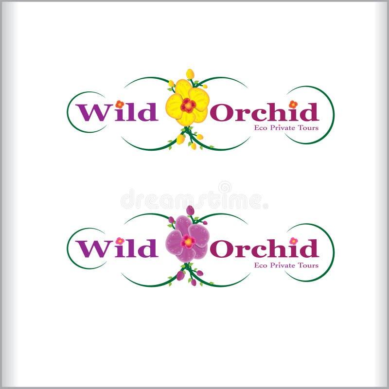 Het embleemontwerp van de Widorchidee stock afbeelding