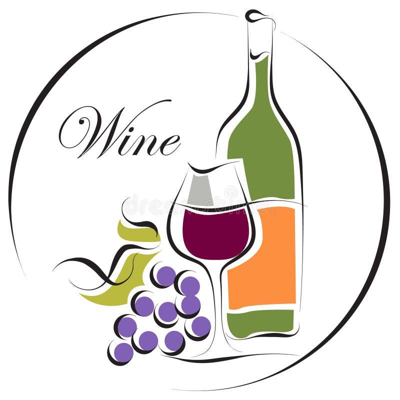 Het embleemontwerp van de wijn vector illustratie