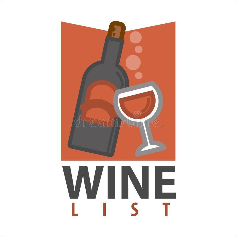 Het embleemontwerp van de wijnlijst Fles met glas van drank royalty-vrije illustratie