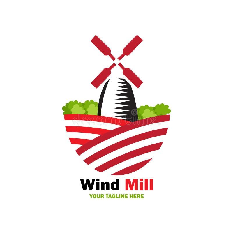 Het embleemontwerp van de windmolen stock illustratie