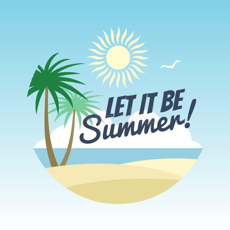 Het embleemontwerp van de de zomervakantie - rust achtergrond met palmen en de zomerteken royalty-vrije illustratie