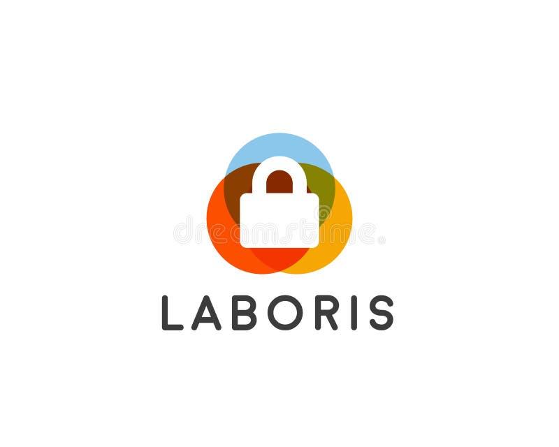 Het embleemontwerp van het veiligheidsslot, vector logotype royalty-vrije illustratie