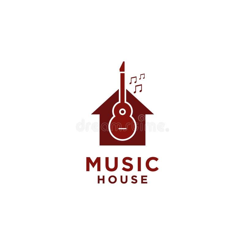 Het Embleemontwerp van het muziekhuis met gitaarsymbool en toon royalty-vrije illustratie