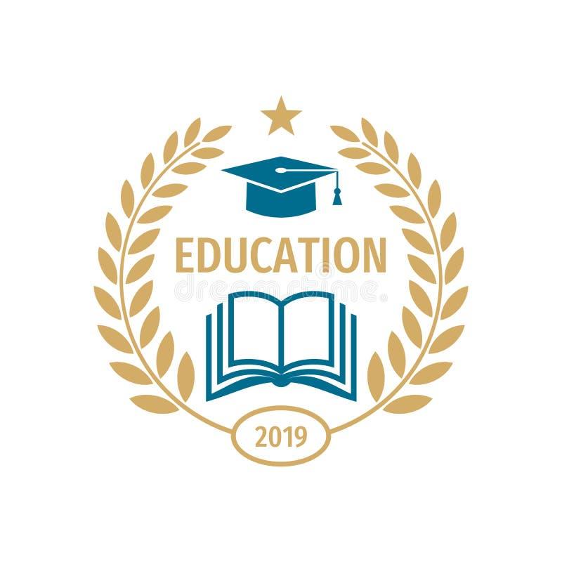 Het embleemontwerp van het onderwijskenteken Universitair middelbare schoolembleem stock illustratie