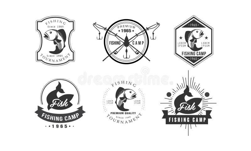 Het embleemontwerp van visserijtoernooien, de kentekens van het visserijkamp, het wild, reis, vectorillustratie van avonturen ret stock illustratie