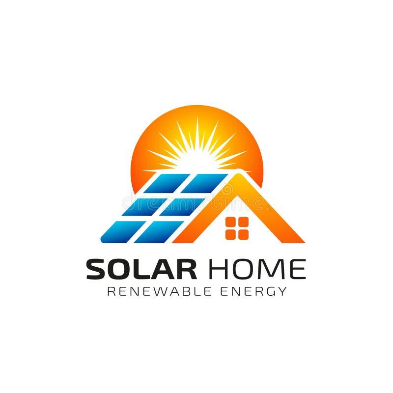 Het embleemontwerpsjabloon van de zon zonne-energie zonnetechnologie-embleemontwerp stock illustratie