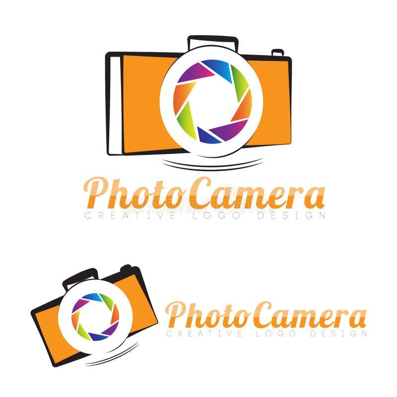 Het embleemopening van de fotografiecamera vector illustratie