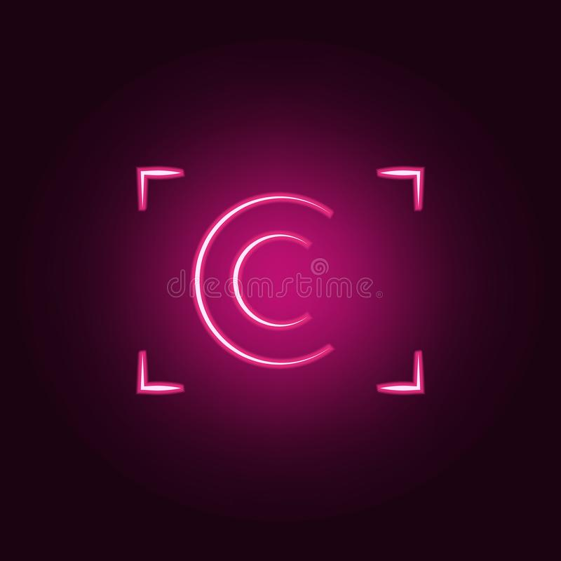 het embleempictogram van de cameranadruk Elementen van Foto in de pictogrammen van de neonstijl Eenvoudig pictogram voor websites royalty-vrije illustratie