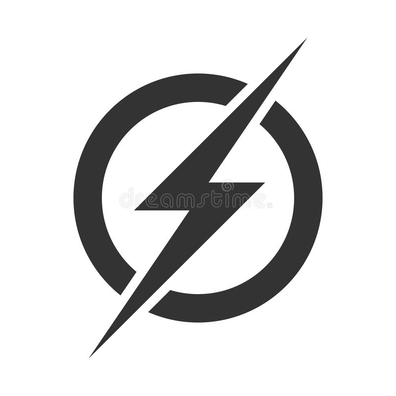 Het embleempictogram van de machtsbliksem Het vector elektrische snelle geïsoleerde symbool van de donderbout vector illustratie
