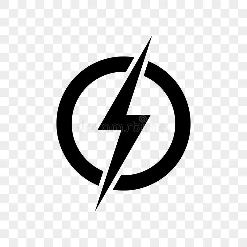 Het embleempictogram van de machtsbliksem Het vector zwarte symbool van de donderbout vector illustratie