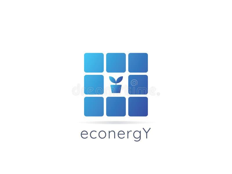 Het embleempictogram van de zonnepaneelenergie nul afvalconceptontwerp royalty-vrije illustratie
