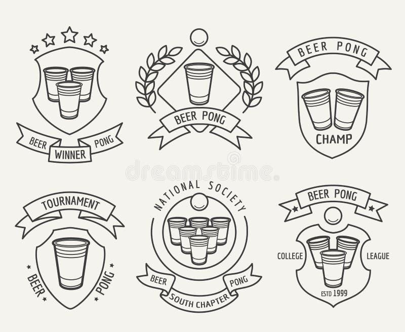 Het embleemreeks van de bier pong lijn vector illustratie