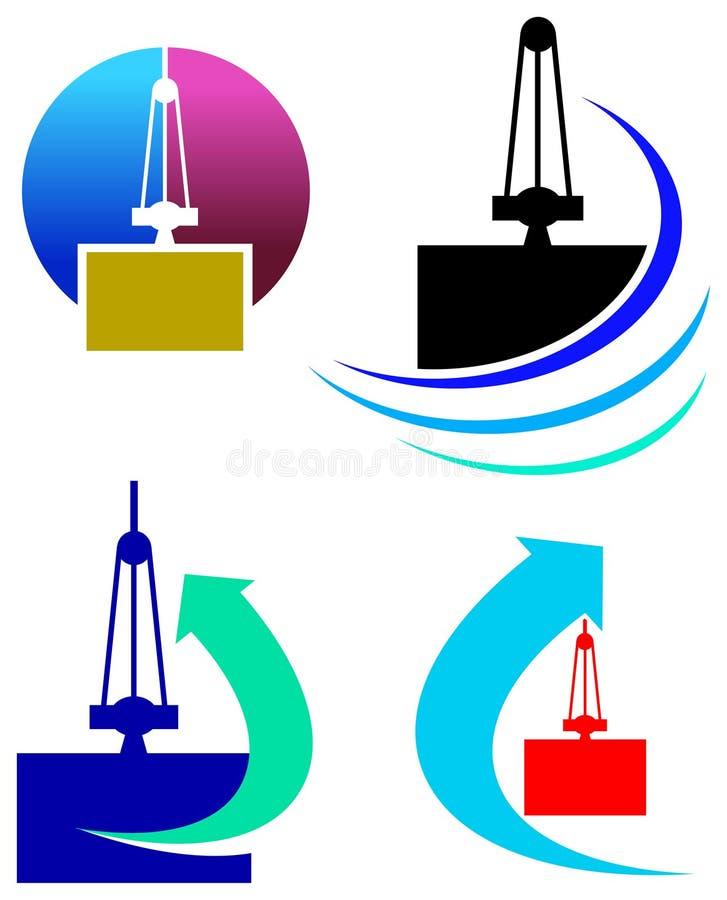 Het embleemreeks van de uitvoer en van de invoer stock illustratie