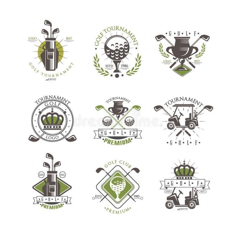 Het embleemreeks van golftoernooien, uitstekende etiketten voor golfkampioenschap, sportclub, adreskaartje vectorillustratie op e vector illustratie