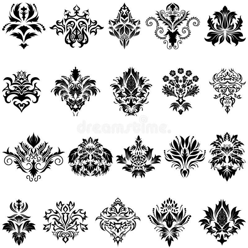 Het embleemreeks van het damast royalty-vrije stock afbeeldingen