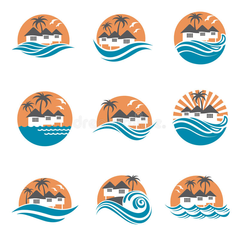 Het embleemreeks van het strandhuis royalty-vrije illustratie