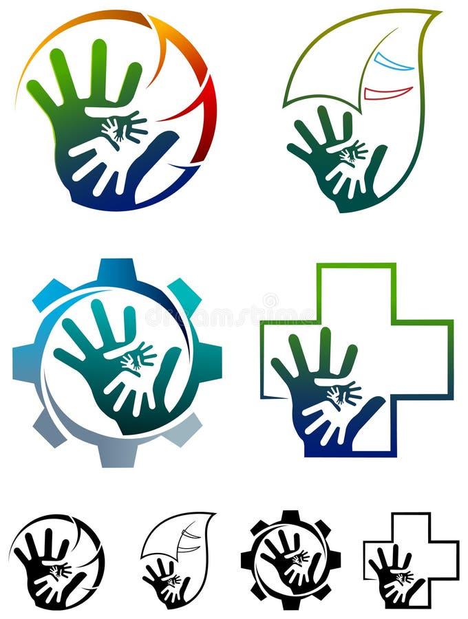 Het embleemreeks van het teamwerk vector illustratie