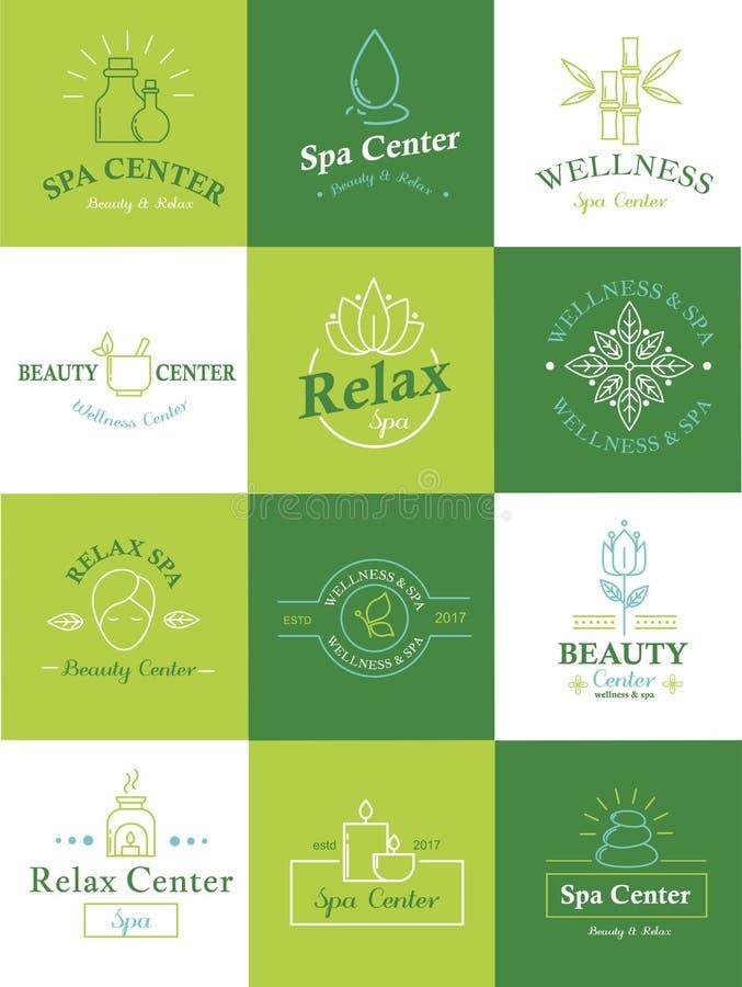 Het embleemreeks van het schoonheidshealthcare spa kenteken, aardhuid en lichaamsverzorging vectorsymbolen royalty-vrije illustratie