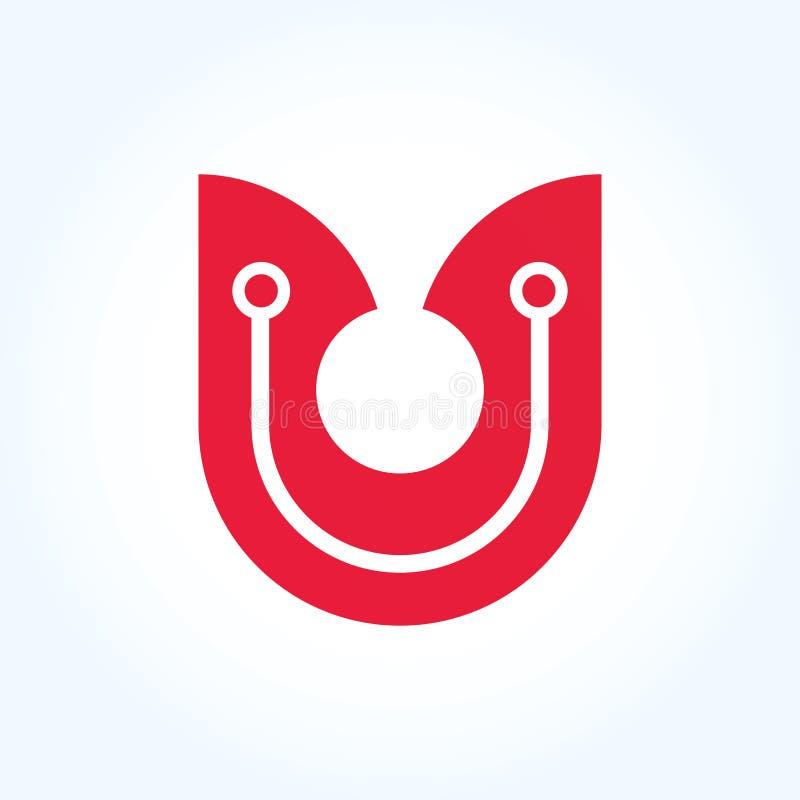 Het embleemteken van de brievenu cirkel, rood materieel ontwerp, Vector vector illustratie