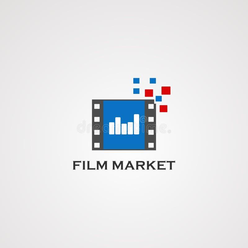 Het embleemvector, pictogram, element, en malplaatje van de filmmarkt voor bedrijf vector illustratie