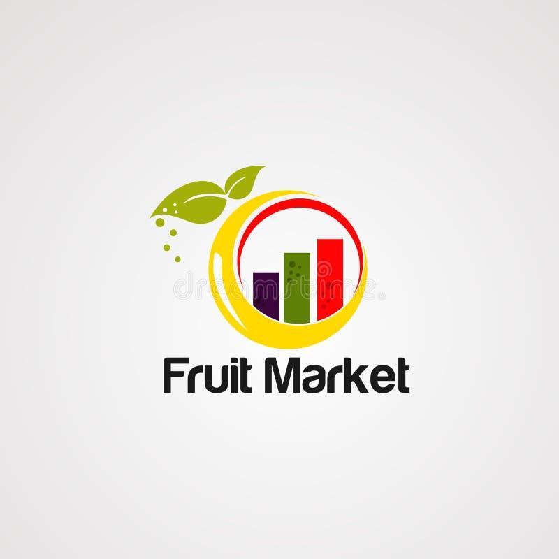 Het embleemvector, pictogram, element en malplaatje van de fruitmarkt stock illustratie