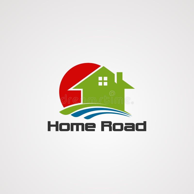 Het embleemvector, pictogram, element, en malplaatje van de huisweg voor bedrijf stock illustratie