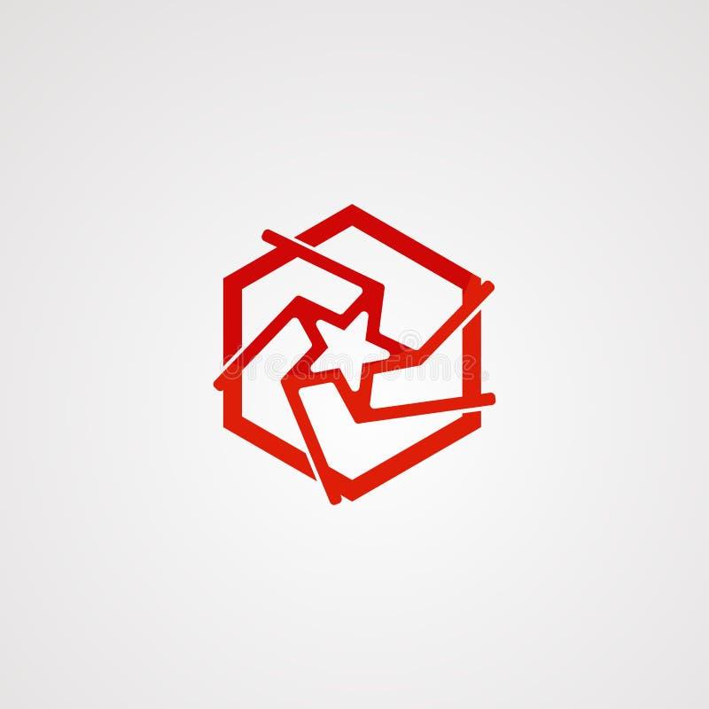 Het embleemvector, pictogram, element, en malplaatje van de kubusster royalty-vrije illustratie