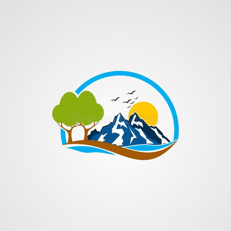 Het embleemvector, pictogram, element, en malplaatje van de rotsberg voor bedrijf vector illustratie