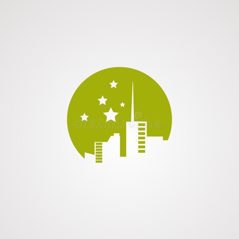 Het embleemvector, pictogram, element, en malplaatje van de stadsster stock illustratie