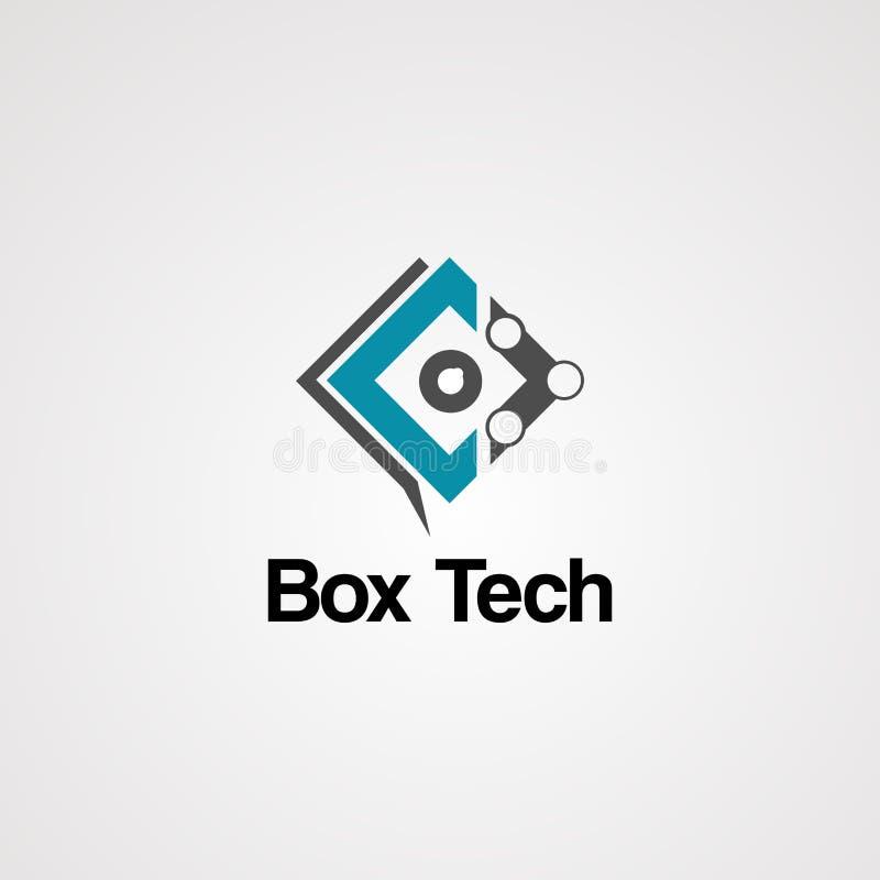 Het embleemvector, pictogram, element, en malplaatje van doostechnologie stock illustratie