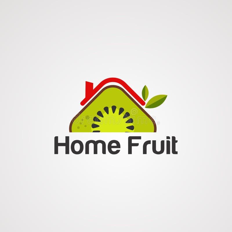 Het embleemvector, pictogram, element, en malplaatje van het huisfruit royalty-vrije illustratie