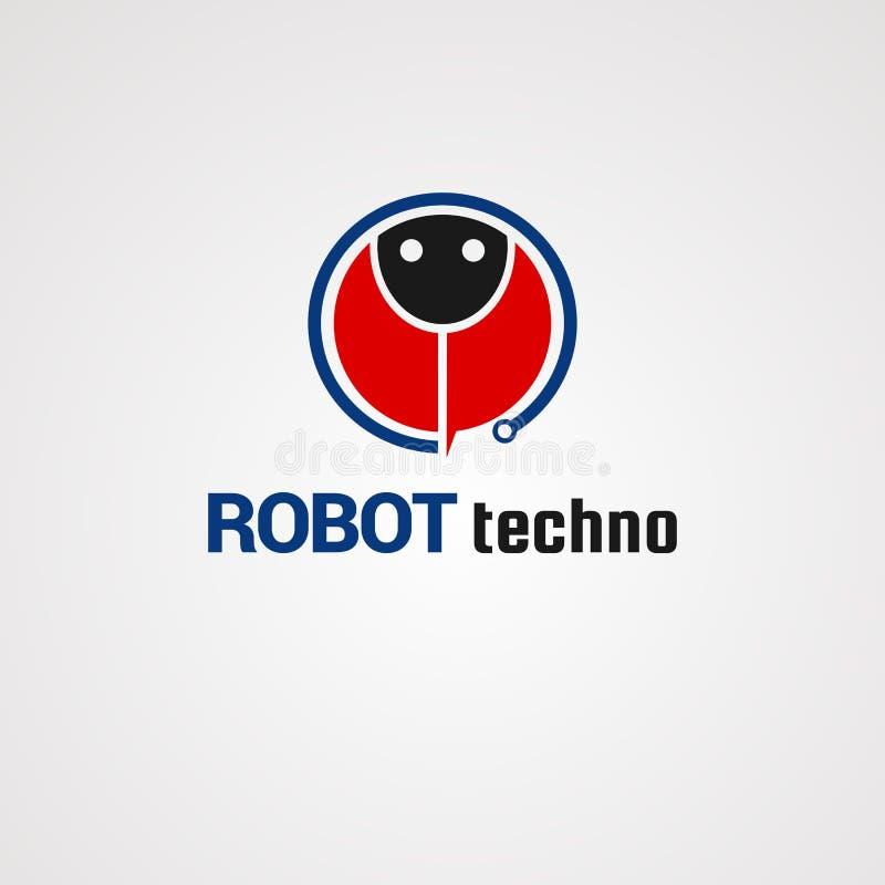 Het embleemvector, pictogram, element, en malplaatje van robottechno voor bedrijf vector illustratie