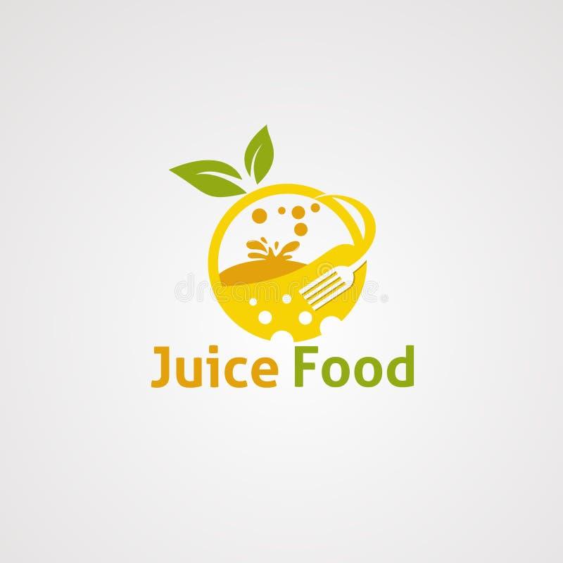 Het embleemvector, pictogram, element, en malplaatje van het sapvoedsel voor bedrijf stock illustratie
