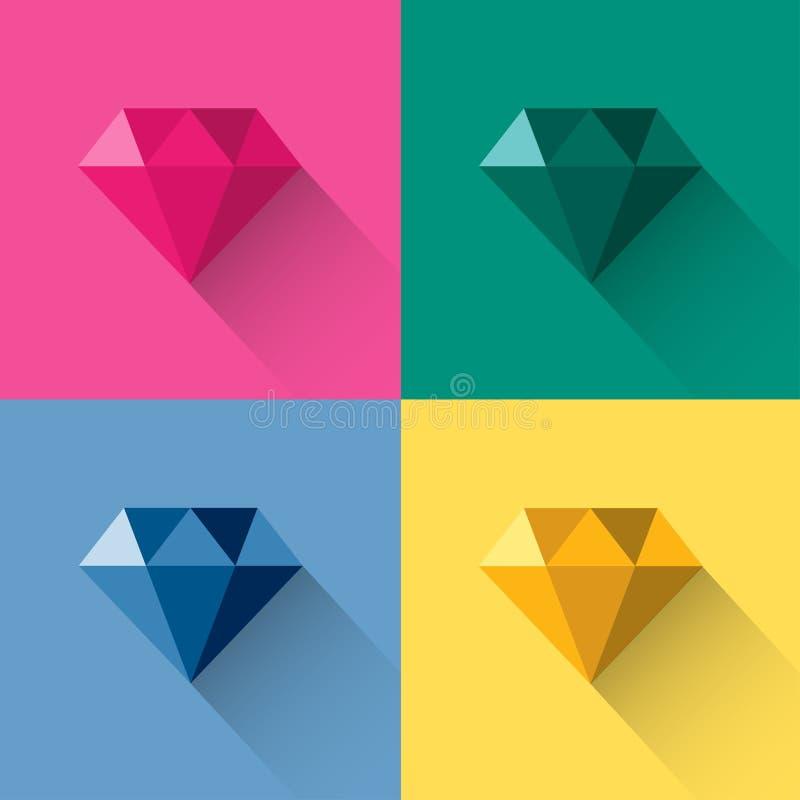 Het embleemvector van de diamant kleurrijke veelhoek royalty-vrije illustratie