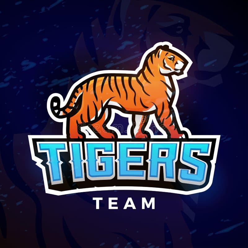 Het embleemvector van de tijgersport Het malplaatje van het mascotteontwerp Voetbal of honkbalillustratie De insignes van de univ vector illustratie