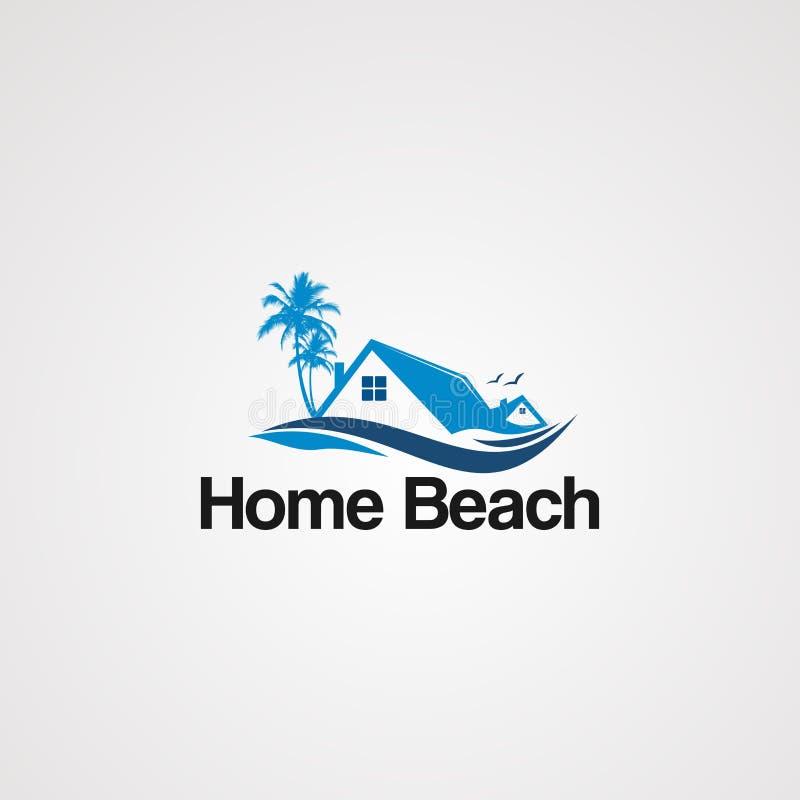 Het embleemvector van het huisstrand met vliegend vogel, pictogram, element, en malplaatje vector illustratie