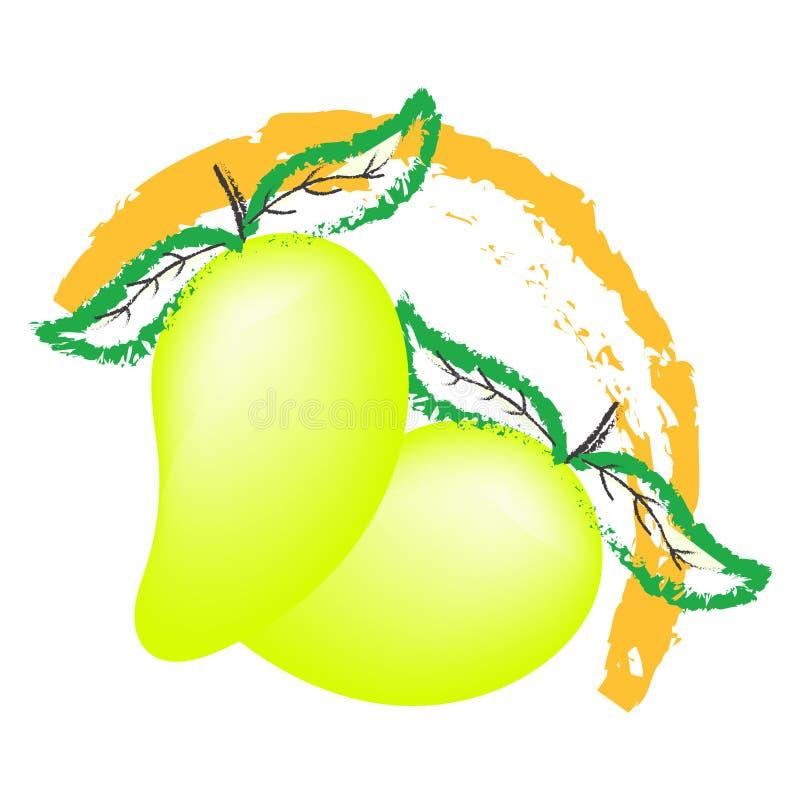 Het embleemvector van het mangofruit, op witte achtergrond wordt geïsoleerd die vector illustratie