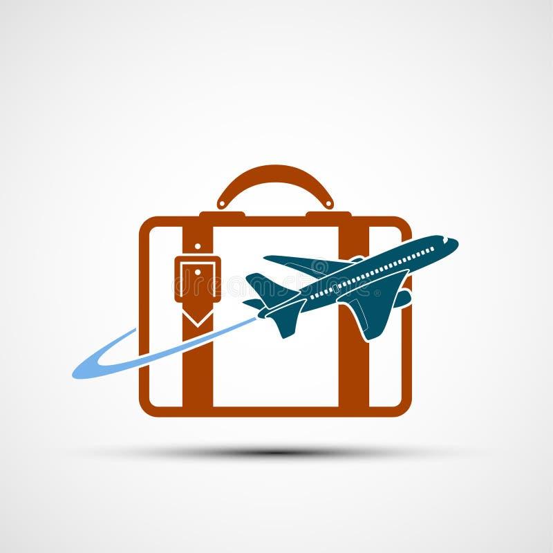 Het embleemvliegtuig vliegt rond de koffer Het pictogram van de reis vector illustratie