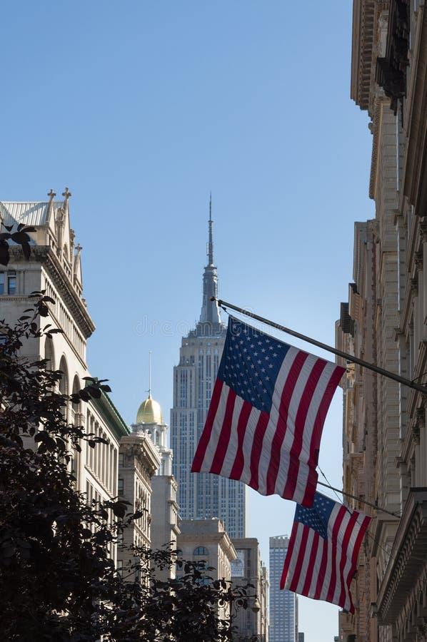 Het Empire State Building de Stad in van Uit het stadscentrum Manhattan, New York stock afbeelding