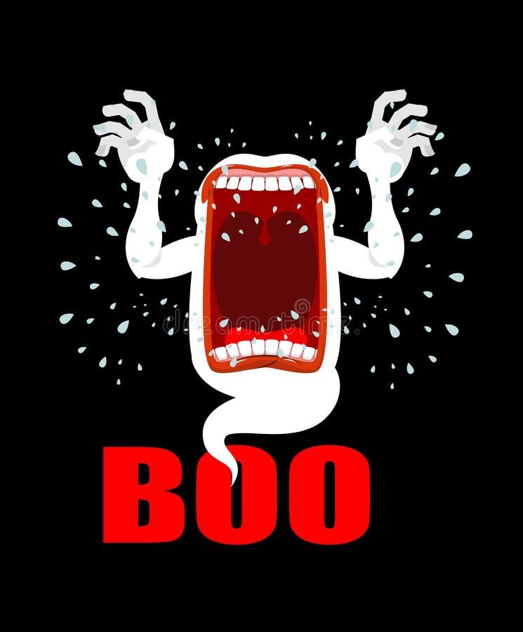 Het enge BOE-GEROEP van spookschreeuwen Afschuwelijke verschijning angstaanjagende schreeuwen Pha vector illustratie