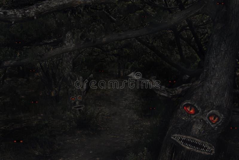 Het enge bos van de nachtfee met boommonsters en ogen in dark royalty-vrije stock foto's