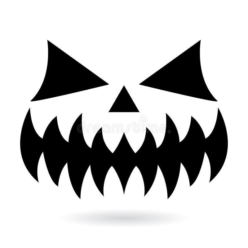 Het enge Halloween-vectorontwerp van het pompoengezicht, spook of het pictogram van de monstermond met griezelige ogen, neus en g vector illustratie