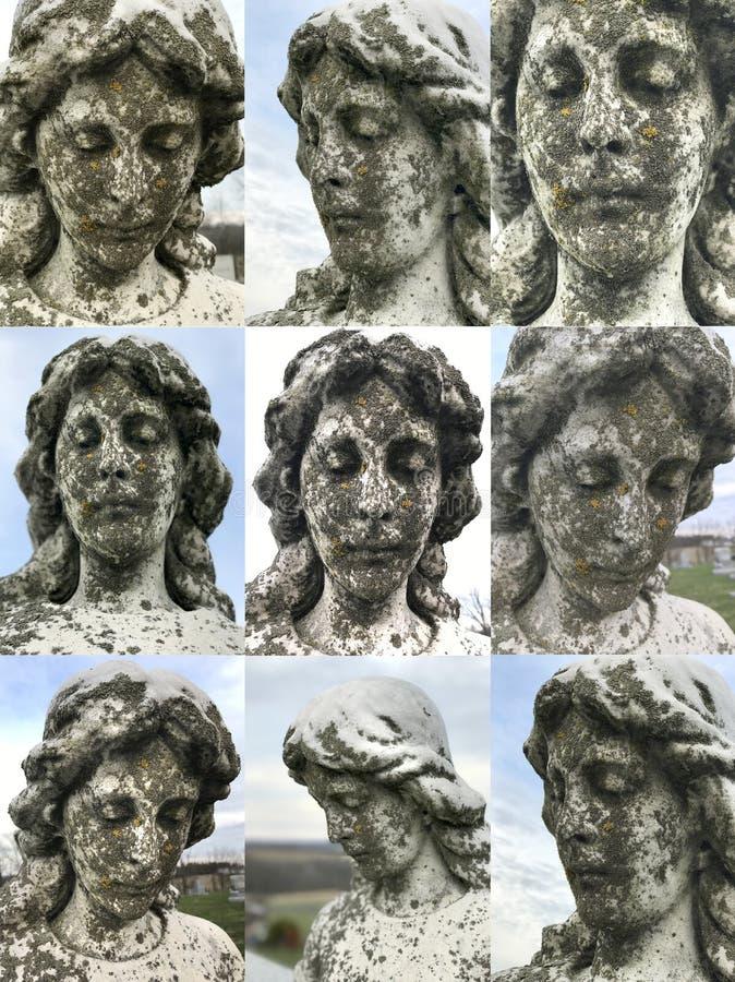 Het engelachtige vrouwelijke hoofdgezicht van het steenstandbeeld royalty-vrije stock fotografie