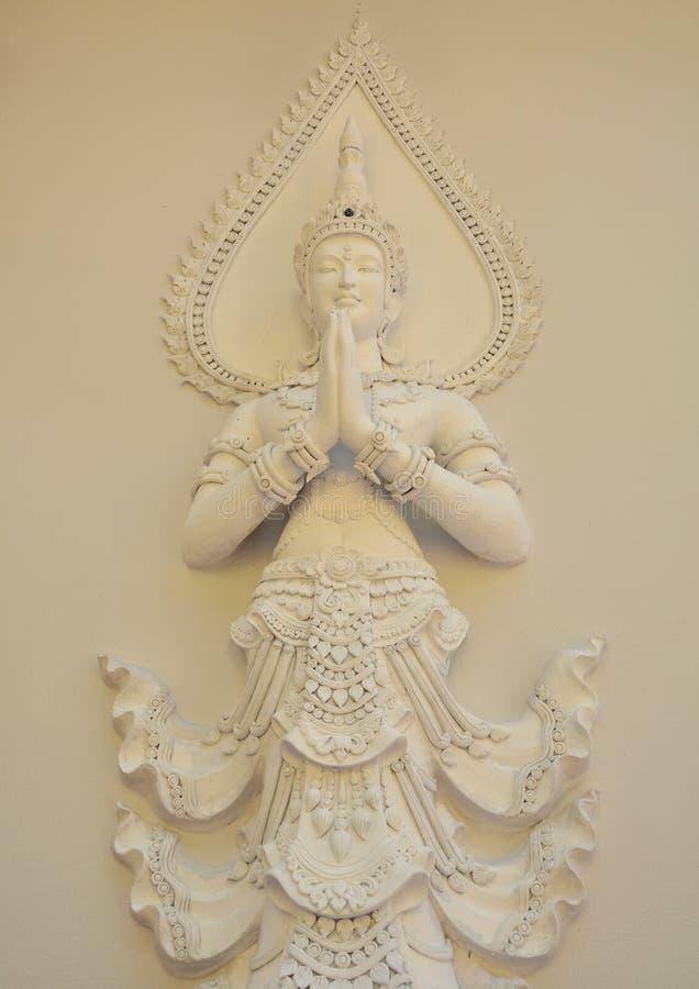 Het engelenstandbeeld beeldhouwt wit royalty-vrije stock fotografie
