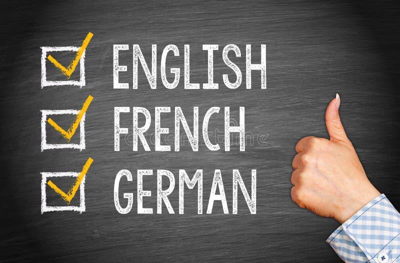 Het Engels, het Frans en het Duits royalty-vrije stock afbeeldingen