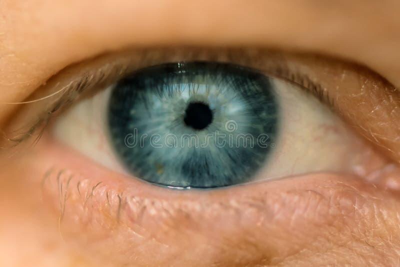 Het enige blauwe vrouwelijke oog, sluit omhoog royalty-vrije stock afbeeldingen