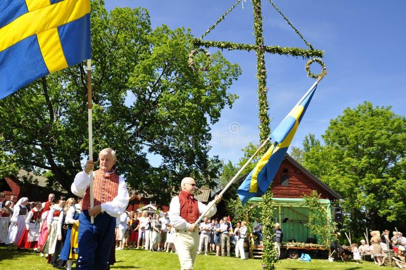 Het ensemble van de folklore van Zweden stock afbeelding