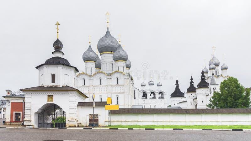 Het ensemble van Rostov het Kremlin Gouden ring van Rusland royalty-vrije stock foto