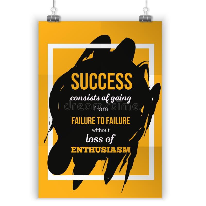 Het enthousiasme is de sleutel aan al succes Ruw afficheontwerp Vectoruitdrukking op donkere achtergrond Beste voor affiches, kaa stock illustratie